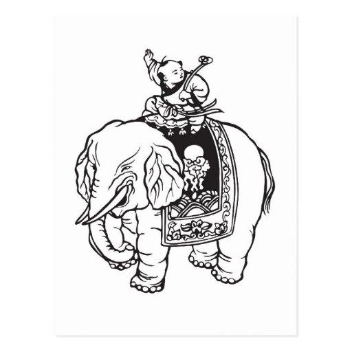 Encanto de buena suerte del elefante del montar a tarjetas postales