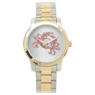 Encanto de la mirada del diamante del rosa del reloj de mano