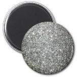 Encanto de plata del brillo imán redondo 5 cm