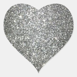 Encanto de plata del brillo pegatinas corazon