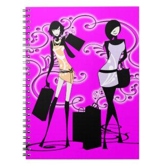 Encanto del francés de la moda del rosa de los chi spiral notebook