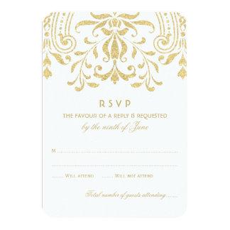 Encanto del vintage del oro de la tarjeta el | de invitación 8,9 x 12,7 cm