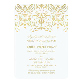 Encanto del vintage del oro de las invitaciones el invitación 12,7 x 17,8 cm