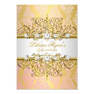 """Encanto elegante Quinceanera del vintage del rosa Invitación 5"""" X 7"""""""
