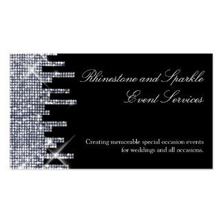 Encanto negro de plata reluciente tarjetas de visita