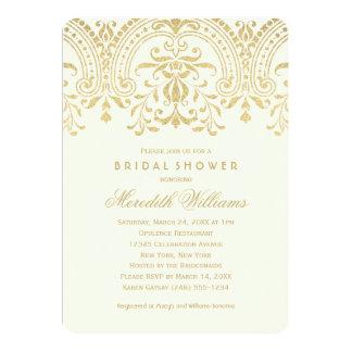 Encanto nupcial del vintage del oro de las invitación 12,7 x 17,8 cm