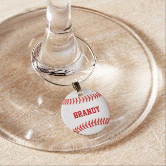 Encanto personalizado béisbol del vino identificadores de copas