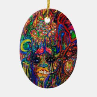 Encanto psicodélico adorno navideño ovalado de cerámica