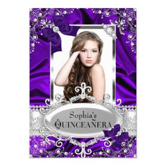 """Encanto púrpura Quinceanera del arco de la perla y Invitación 5"""" X 7"""""""