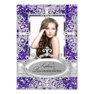 """Encanto púrpura Quinceanera del brillo y del Invitación 5"""" X 7"""""""