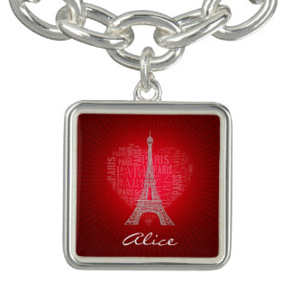 Encanto rojo del vintage de París el | del amor Pulseras