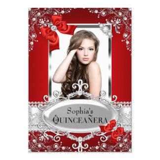 """Encanto rojo Quinceanera del arco de la perla y de Invitación 5"""" X 7"""""""