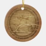 Encantos de la magia de la paz de la prosperidad adorno navideño redondo de cerámica
