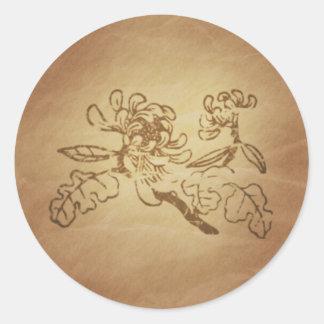 Encantos de la magia de la risa del crisantemo pegatina redonda