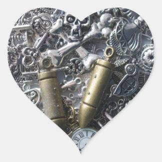 Encantos de Steampunk Pegatina En Forma De Corazón