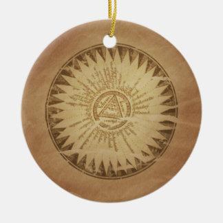 Encantos enterrados círculo mágico de la magia del adorno navideño redondo de cerámica