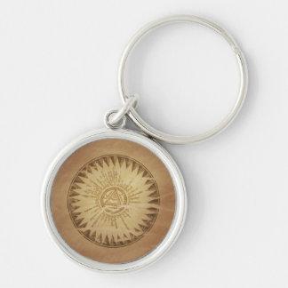 Encantos enterrados círculo mágico de la magia del llavero redondo plateado