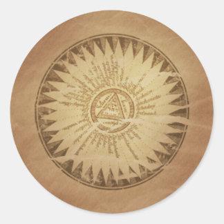 Encantos enterrados círculo mágico de la magia del pegatina redonda
