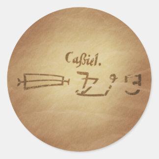 Encantos mágicos de la magia de la protección de pegatina redonda