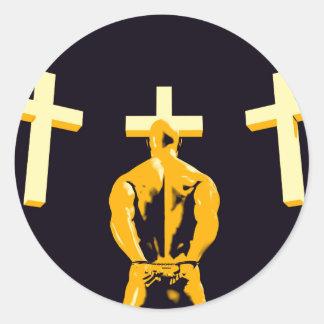 Encarcele la prisión y el cristianismo de la pegatina redonda