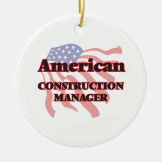 Encargado americano de la construcción adorno navideño redondo de cerámica