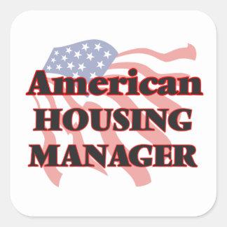 Encargado americano de la vivienda pegatina cuadrada