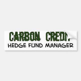 Encargado de HedgeFund del crédito del carbono Pegatina De Parachoque