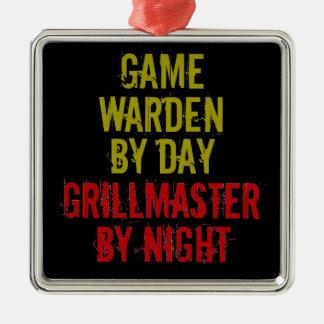 Encargado de juego de Grillmaster Adorno Cuadrado Plateado