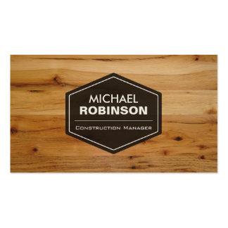 Encargado de la construcción - mirada de madera plantilla de tarjeta de negocio