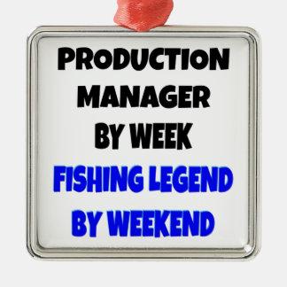 Encargado de producción de la leyenda de la pesca ornamento para reyes magos