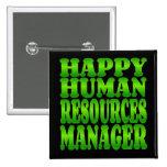 Encargado de recursos humanos feliz en verde pins