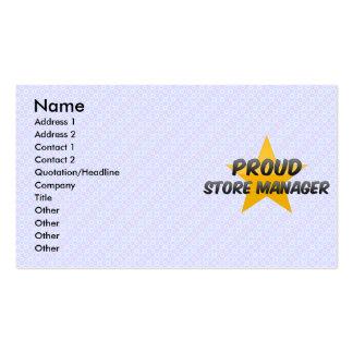 Encargado de tienda orgulloso tarjeta de visita