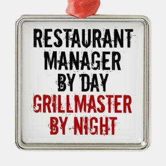 Encargado del restaurante de Grillmaster Adorno Cuadrado Plateado