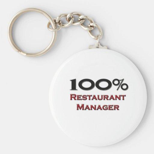 Encargado del restaurante del 100 por ciento llavero