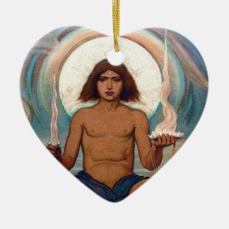 Encargado del umbral de Elihu Vedder Adorno Navideño De Cerámica En Forma De Corazón