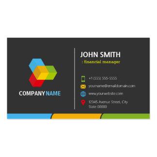 Encargado financiero - colorido oscuro elegante tarjetas de visita