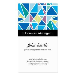 Encargado financiero - geometría abstracta azul tarjetas de visita
