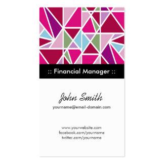 Encargado financiero - geometría abstracta rosada tarjetas de visita