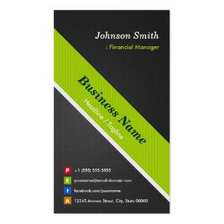 Encargado financiero - negro y verde superiores tarjetas de visita