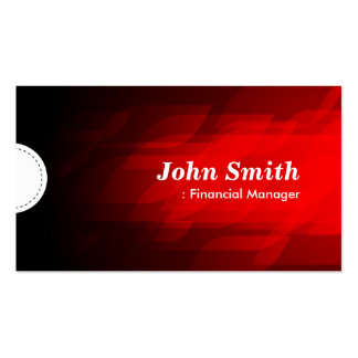 Encargado financiero - rojo oscuro moderno tarjetas de visita