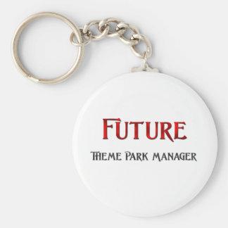 Encargado futuro del parque temático llavero redondo tipo pin