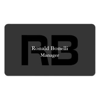 Encargado negro gris único del monograma tarjetas de visita
