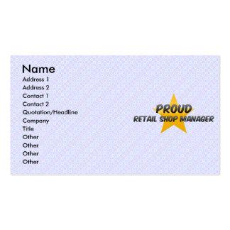 Encargado orgulloso de la tienda al por menor plantillas de tarjeta de negocio