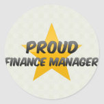 Encargado orgulloso de las finanzas etiquetas redondas