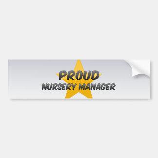 Encargado orgulloso del cuarto de niños etiqueta de parachoque