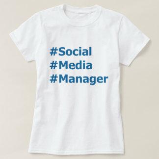 Encargado social Hashtags de los medios Playera