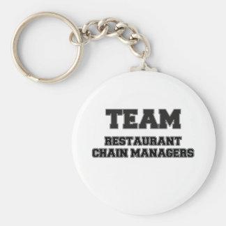 Encargados de la cadena de restaurantes del equipo llaveros personalizados