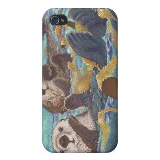 Encargados del quelpo - nutrias de mar iPhone 4 protectores