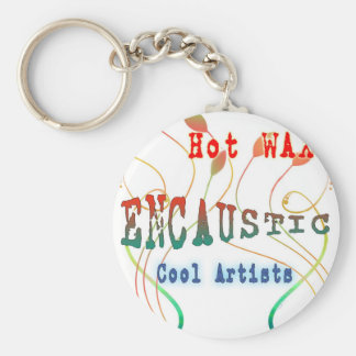 Encaustic Art Basic Round Button Keychain