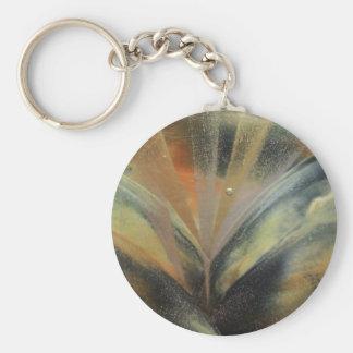 Encaustic black gold ray keychain